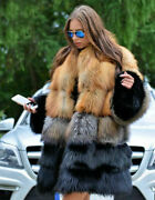 Women Whole Skin 100 Real Red Fox Fur Coat Lapel Collar Jacket Thick Overcoat
