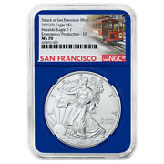 2021 S 1 American Silver Eagle Ngc Ms70 Emergency Production Trolley Er Label