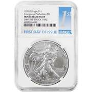 2020 P 1 American Silver Eagle Emergency Ngc Ms69 Error Fdi First Label Obver
