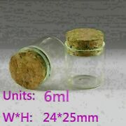 30pcs 2425mm Tiny Clear Glass Bottles Empty Glass Bottle With Cork Vials 6ml