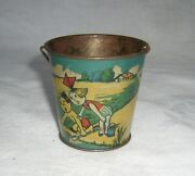 Antique 1920and039s Rare Early Rsa Spain Signed Tin Candy Container Beach Sand Pail