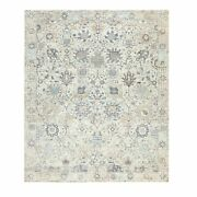 8and039x10and039 Silk With Textured Wool Ivory Tebraz Hand Knotted Oriental Rug G58930