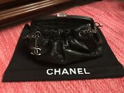 Rare Authentic Distressed Lambskin Paris Ny Framed Pleated Bag