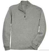 Nwt Southern Proper Beau Quilted Quarter Zip Heather Proper Grey Pullover Size M
