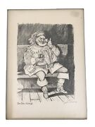 Vintage John Corvin Signed Animated Sketch Of Shakespeareandrsquos Sir John Falstaff
