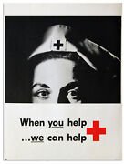 Vintage Red Cross Poster Featuring The Eyes Of A Nurse