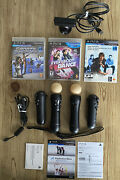 Bundle Of 2 Set Ps Move Playstation 3 Ps3 Controllers W/camera And 3 Games