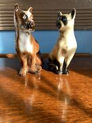 Set Of 2 Siamese Cat And Boxer Dog Porcelain Figurines Made In Brazil