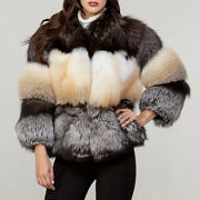Fashion Women Real Natural White And Silver Fox Fur Coat Luxury Thick Outwear