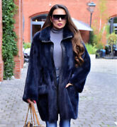Women Natural Real Mink Fur Coat Stand Collar Fashion Genuine Fur Thick Overcoat