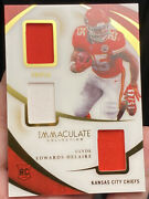 2020 Immaculate Collection Clyde Edwards-helaire Rookie Triple Jersey Patch /49
