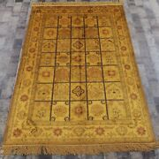 Yilong 4and039x6and039 Garden Scene Hand Knotted Silk Carpet Golden Antique Area Rug G29ab