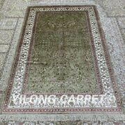 Yilong 4and039x6and039 Green Handknotted Silk Area Rug Floral Oriental Home Carpet H303b
