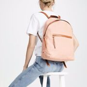 New Madewell Antique Coral Pink Canvas Charleston Backpack W Tan Leather Trim