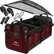 Car Truck, Suv Cargo Trunk Organizer W/attachable Non-slip Pads And Securing Hooks