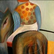 Jockey On Horse Equestrian Gifts Expressionist Equine Oil Art Painting Sfastudio