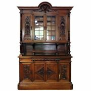 Grand Tall Carved Walnut French Louis Xv China Cabinet Court Cupboard C1880s