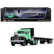 Mack B-61 With Sleeper Cab And 48and039 Flatbed Trailer Antique Green 1/64 Diecast