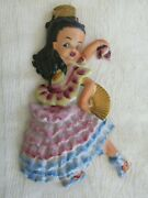 Rare Vintage Brownie Downing Wall Plaque Dancing Girl Flamenco Aus Pottery