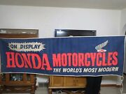 Early 1960and039s Honda Dealer Advertising Banner Era Of Cb92 Benly C100 Cl72 Ca72