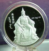 1993 China Genghis Khan One Ounce Silver Proof Medal With Coa And Original Box