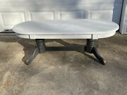 Vintage Antique Style Painted Oval Coffee Cocktail Living Room Table Rustic