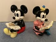Disney Mickey And Minnie Mouse Figurines Bookends