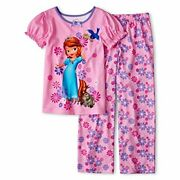 Girl's Sofia The First And Mia Polyester Floral Pajama Set, Size 4
