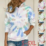 Womenand039s Tops Tee Ladies Casual Hooded Sweater Tie Dye Long Sleeve T-shirts Top