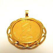 K24 / Pure Gold Maple Leaf Gold Coin 1/4 Ounce Coin Top Pendant K18 Frame Rebi