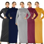 Women's Plus Size Sexy Solid Maxi Dress Long Sleeve Ball Gown Evening Dresses