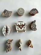 Wooden Printing Blocks Set Of 9 Hand Carving Different Designs