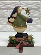 Folk Collection By Williraye Starry Snowman Stocking Holder With Metal Base