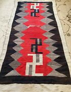 Antique Navajo Rug, Transitional Period, 86 X 44, Rare, In Need Of Wash/repair