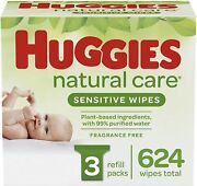Huggies Natural Care Sensitive Baby Wipes Unscented 3 Refill Packs 624 Wipes