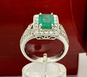 18k White Gold Halo Natural 2.41ct Emerald Cut Green Emerald And Diamond Ring New
