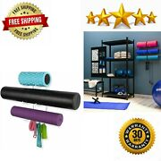 Wall Mount Yoga Mat Home Gym Equipment Resistance Bands And Foam Roller Holder