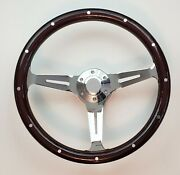 15 Dark Real Mahogany Wood Steering Wheel + Adaptor + Horn Button Chevy Ford