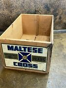 Antique Vintage Wood Fruit Box Shipping Crate W Maltese Cross Label Pears