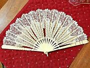 Antique Victorian Hand Fan Carved Bone, Lace And Sequins 1800's