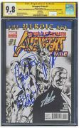 Avengers Prime Comic 1 Cgc 9.8 Signed By Cast Chris Evans And Hemsworth Stan Lee