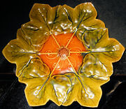 Bretby Majolica Leaves Radiating From Center 10 And 1/4 Dish Uk England