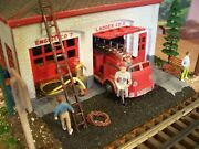 O Scale Fire Station Department Custom Built And Assembled Building Diorama Truck