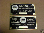 Lancia Color Logo Acid Etched Brass Data Plate 1930s Choice Astura Or Dilambda
