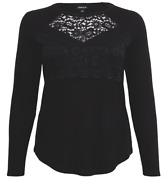 Torrid 4x Plus Size Black Srxy Lace Soft Cozy Ribbed Hacci Long Sleeve Tunic Top