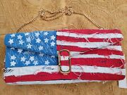Marc Jacobs Large Pochette American Flag With Gold Chain Strap Runway Bag Clutch