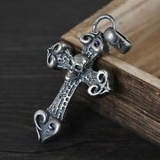 Chinese Pure Silver S925 Exquisite Punk Wind Deathand039s-head Latin Cross Pendants