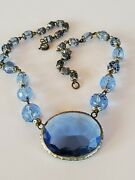 Signed Vintage Czech Necklace. Large Blue Rhinestone Pendant And Crystal Beads.