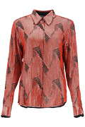 New Dries Van Noten Shirt With Sequins Chow Emb 1422 Red Authentic Nwt
