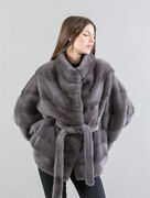 Women Real Mink Fur Coat With Stand Collar Cape Winter Warm Poncho Shawl Jacket